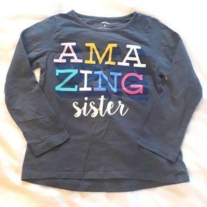 "Carters Girls Grey Size 5 Shirt ""Amazing Sister"""
